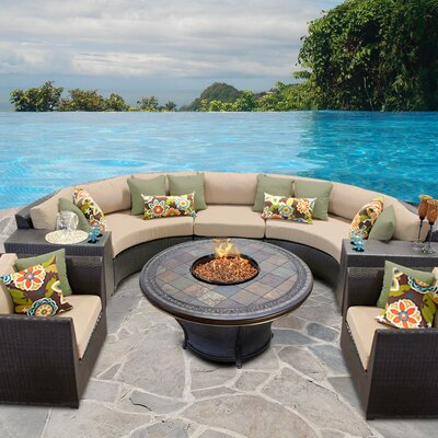 Barbados Outdoor Wicker 8 Piece Fire Pit Seating Group with Cushion Fabric: Wheat