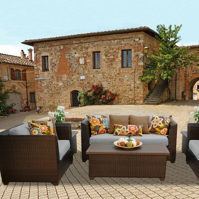 Barbados Outdoor Wicker 7 Piece Deep Seating Group with Cushion Fabric: Gray