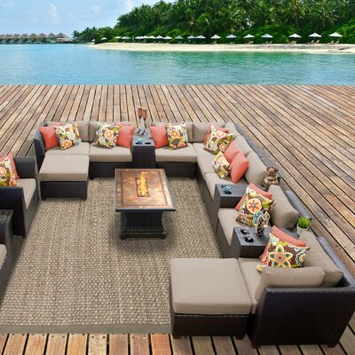 Barbados Outdoor Wicker 17 Piece Fire Pit Seating Group with Cushion Fabric: Wheat
