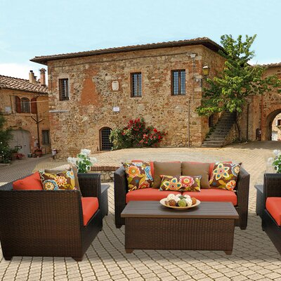 Barbados Outdoor Wicker 7 Piece Deep Seating Group with Cushion Fabric: Tangerine