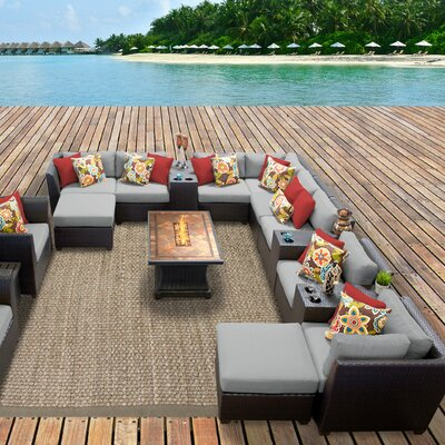 Barbados Outdoor Wicker 17 Piece Fire Pit Seating Group with Cushion Fabric: Gray