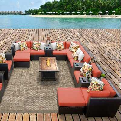 Barbados Outdoor Wicker 17 Piece Fire Pit Seating Group with Cushion Fabric: Tangerine