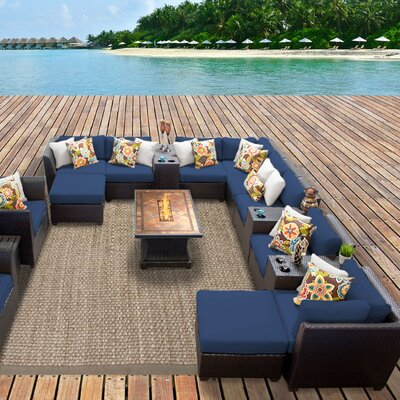 Barbados Outdoor Wicker 17 Piece Fire Pit Seating Group with Cushion Fabric: Navy