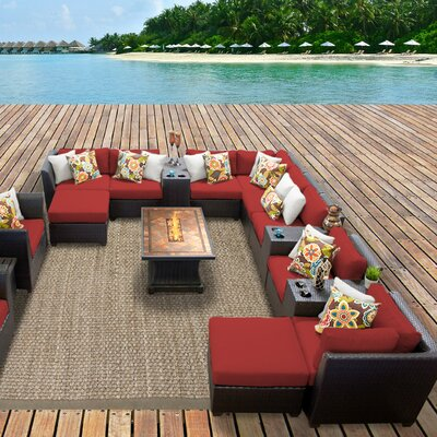 Barbados Outdoor Wicker 17 Piece Fire Pit Seating Group with Cushion Fabric: Terracotta