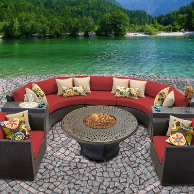 Barbados Outdoor Wicker 8 Piece Fire Pit Seating Group with Cushion Fabric: Terracotta