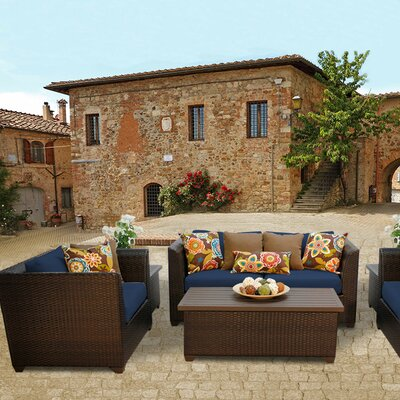 Barbados Outdoor Wicker 7 Piece Deep Seating Group with Cushion Fabric: Navy