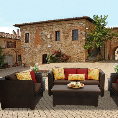 Barbados Outdoor Wicker 7 Piece Deep Seating Group with Cushion Fabric: Cocoa