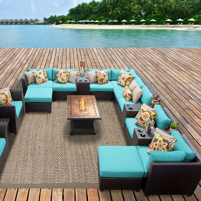 Barbados Outdoor Wicker 17 Piece Fire Pit Seating Group with Cushion Fabric: Aruba