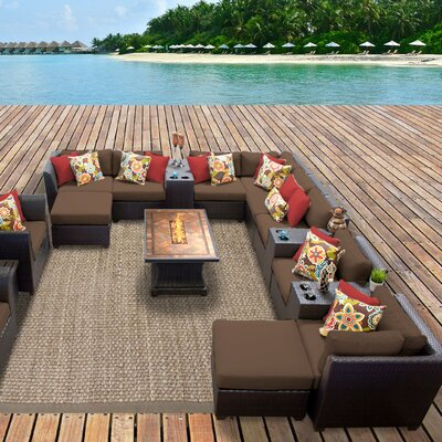 Barbados Outdoor Wicker 17 Piece Fire Pit Seating Group with Cushion Fabric: Cocoa