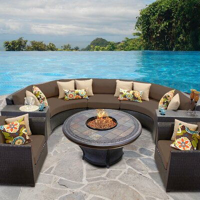 Barbados Outdoor Wicker 8 Piece Fire Pit Seating Group with Cushion Fabric: Cocoa