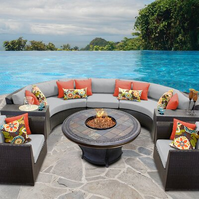 Barbados Outdoor Wicker 8 Piece Fire Pit Seating Group with Cushion Fabric: Gray