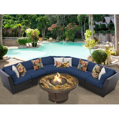 Barbados Outdoor Wicker 6 Piece Fire Pit Seating Group with Cushion Fabric: Navy