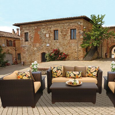 Barbados Outdoor Wicker 7 Piece Deep Seating Group with Cushion Fabric: Sesame