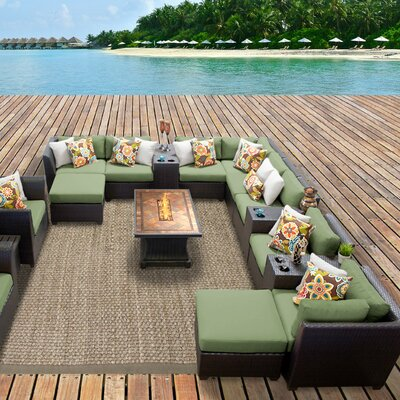 Barbados Outdoor Wicker 17 Piece Fire Pit Seating Group with Cushion Fabric: Cilantro