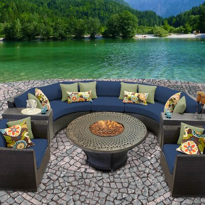 Barbados Outdoor Wicker 8 Piece Fire Pit Seating Group with Cushion Fabric: Navy