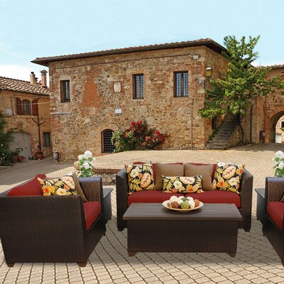 Barbados Outdoor Wicker 7 Piece Deep Seating Group with Cushion Fabric: Terracotta