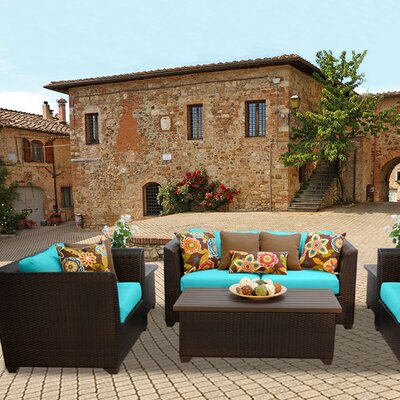 Barbados Outdoor Wicker 7 Piece Deep Seating Group with Cushion Fabric: Aruba