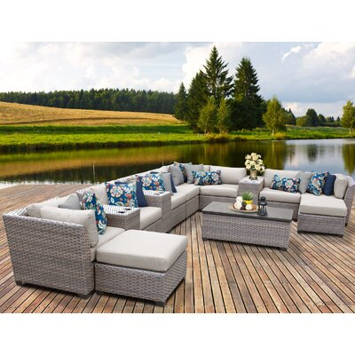 Florence Outdoor Wicker 14 Piece Sectional Seating Group with Cushion Fabric: Beige