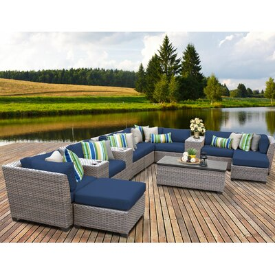 Florence Outdoor Wicker 14 Piece Sectional Seating Group with Cushion Fabric: Navy