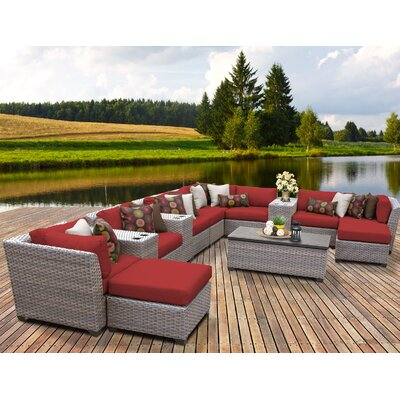 Florence Outdoor Wicker 14 Piece Sectional Seating Group with Cushion Fabric: Terracotta