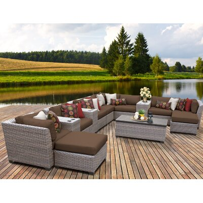 Florence Outdoor Wicker 14 Piece Sectional Seating Group with Cushion Fabric: Cocoa