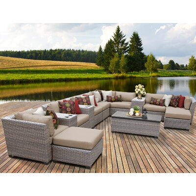 Florence Outdoor Wicker 14 Piece Sectional Seating Group with Cushion Fabric: Wheat