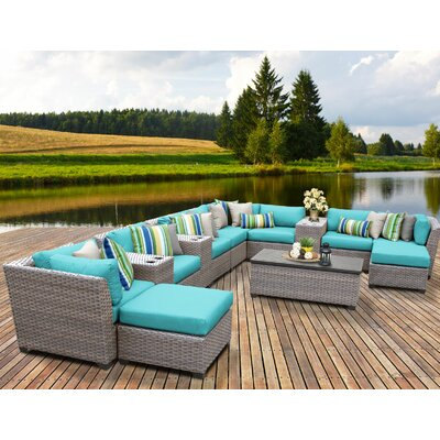 Florence Outdoor Wicker 14 Piece Sectional Seating Group with Cushion Fabric: White