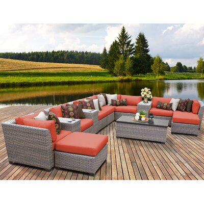 Florence Outdoor Wicker 14 Piece Sectional Seating Group with Cushion Fabric: Tangerine