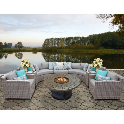 Florence Outdoor Wicker 8 Piece Fire Pit Seating Group with Cushion Fabric: Gray