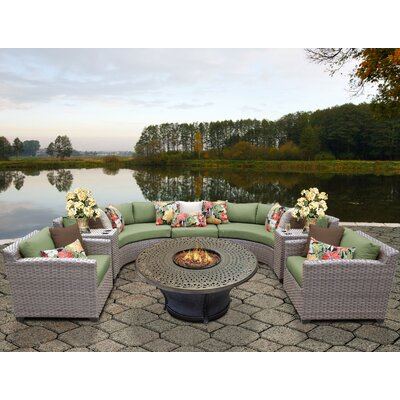 Florence Outdoor Wicker 8 Piece Fire Pit Seating Group with Cushion Fabric: Cilantro