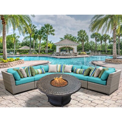 Florence Outdoor Wicker 6 Piece Fire Pit Seating Group with Cushion Fabric: Aruba
