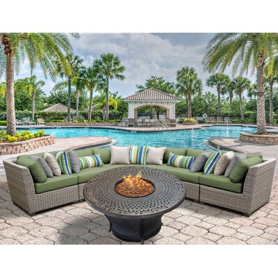 Florence Outdoor Wicker 6 Piece Fire Pit Seating Group with Cushion Fabric: Cilantro