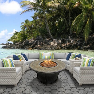 Fairmont Outdoor Wicker 8 Piece Fire Pit Seating Group with Cushion Fabric: Grey