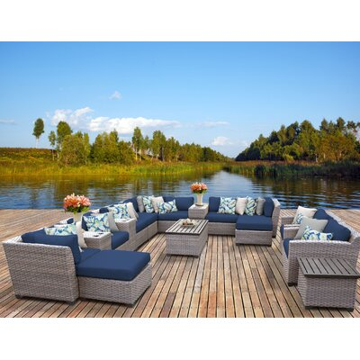 Florence 17 Piece Sectional Seating Group with Cushion Fabric: Navy
