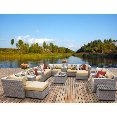 Florence 17 Piece Sectional Seating Group with Cushion Fabric: Sesame