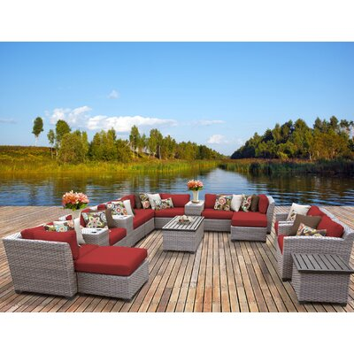 Florence 17 Piece Sectional Seating Group with Cushion Fabric: Terracotta