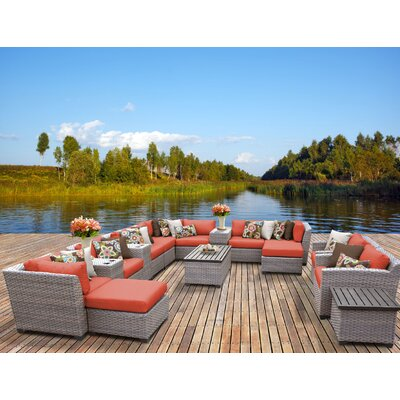 Florence 17 Piece Sectional Seating Group with Cushion Fabric: Tangerine