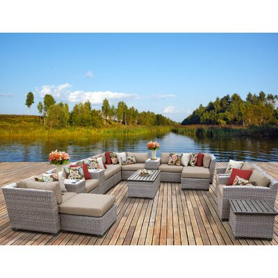 Florence 17 Piece Sectional Seating Group with Cushion Fabric: Wheat
