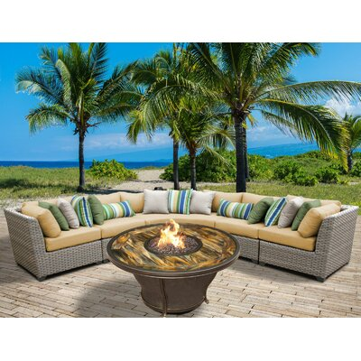 Florence Outdoor Wicker 6 Piece Fire Pit Seating Group with Cushion Fabric: Sesame