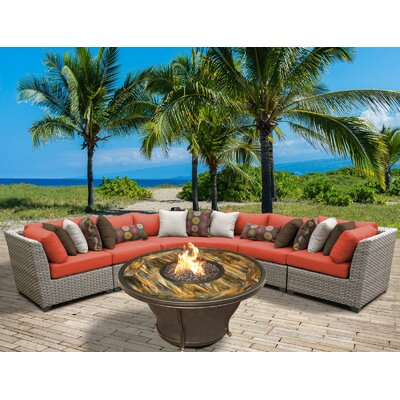 Florence Outdoor Wicker 6 Piece Fire Pit Seating Group with Cushion Fabric: Tangerine