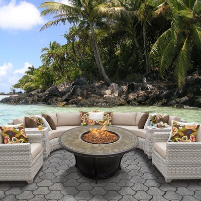 Fairmont Outdoor Wicker 8 Piece Fire Pit Seating Group with Cushion Fabric: Wheat