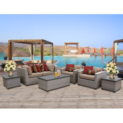 Florence Outdoor Wicker 7 Piece Deep Seating Group with Cushion Fabric: Wheat