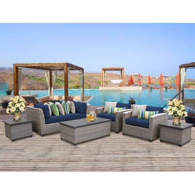 Florence Outdoor Wicker 7 Piece Deep Seating Group with Cushion Fabric: Navy