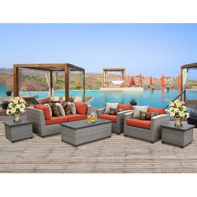 Florence Outdoor Wicker 7 Piece Deep Seating Group with Cushion Fabric: Tangerine