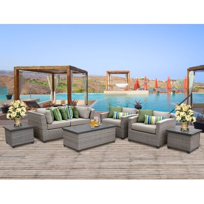 Florence Outdoor Wicker 7 Piece Deep Seating Group with Cushion Fabric: Beige