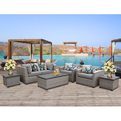 Florence Outdoor Wicker 7 Piece Deep Seating Group with Cushion Fabric: Gray