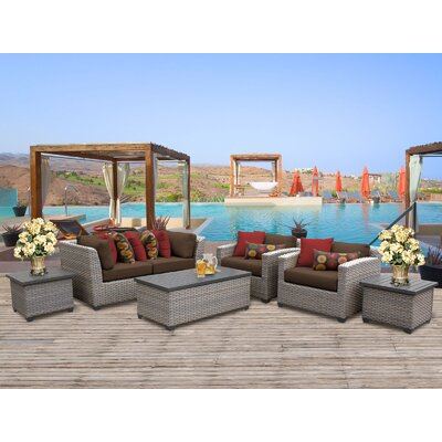Florence Outdoor Wicker 7 Piece Deep Seating Group with Cushion Fabric: Cocoa