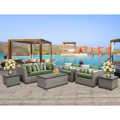 Florence Outdoor Wicker 7 Piece Deep Seating Group with Cushion Fabric: Cilantro
