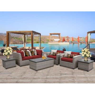 Florence Outdoor Wicker 7 Piece Deep Seating Group with Cushion Fabric: Terracotta