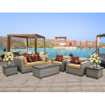 Florence Outdoor Wicker 7 Piece Deep Seating Group with Cushion Fabric: Sesame